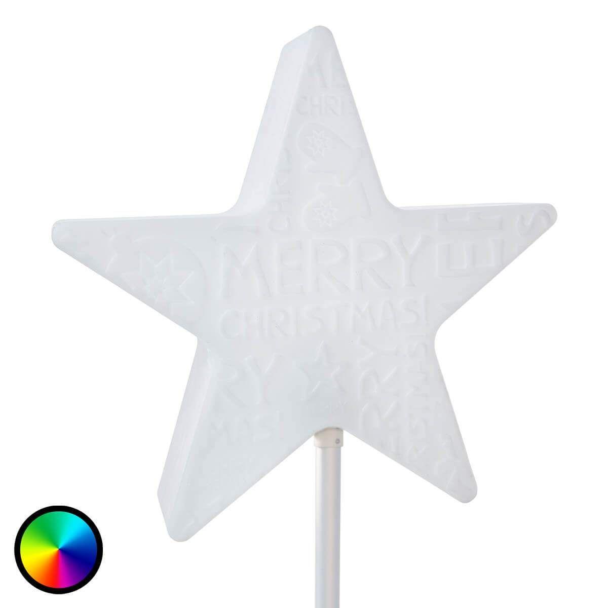 Moderne Lampe Weihnachten Merry Christmas von 8 Seasons Weiß #merrychristmasschriftzug Merry Christmas - leuchtender Stern auf Stab von 8 Seasons #merrychristmasschriftzug