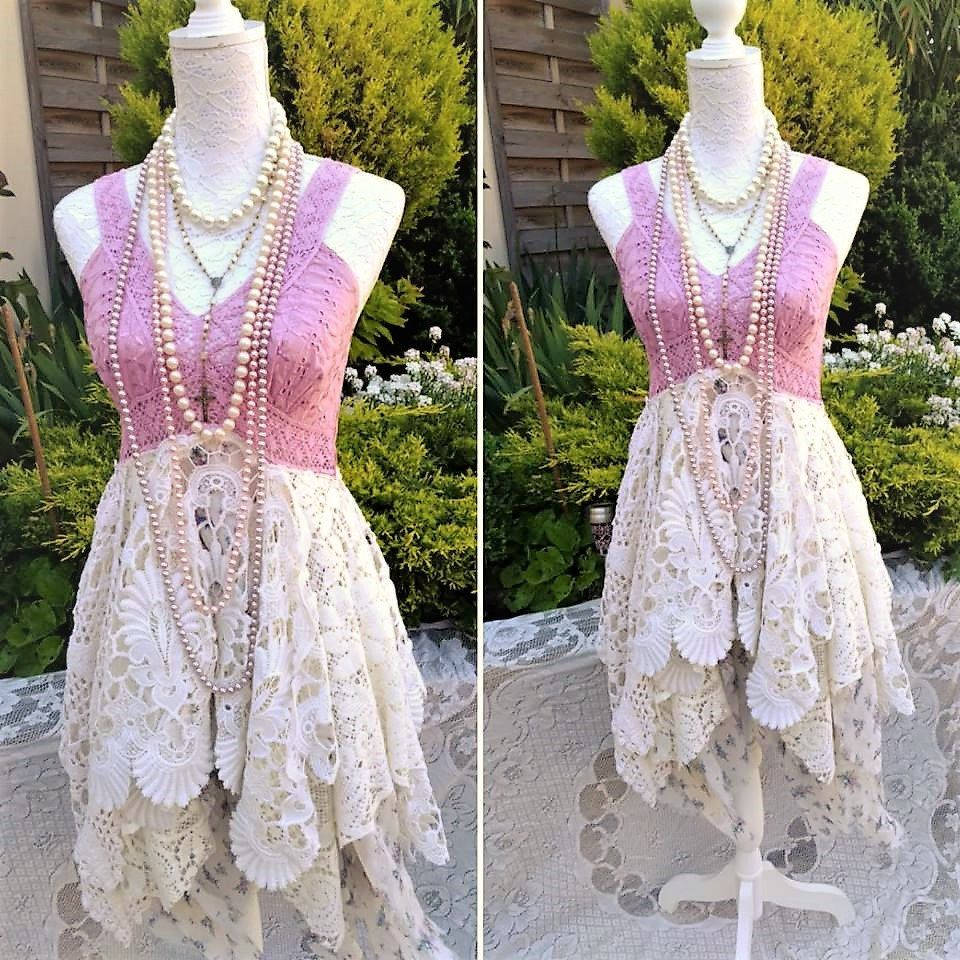 Bohemian hippie chic dress, vintage lace and crochet. Magnolia Pearl ...