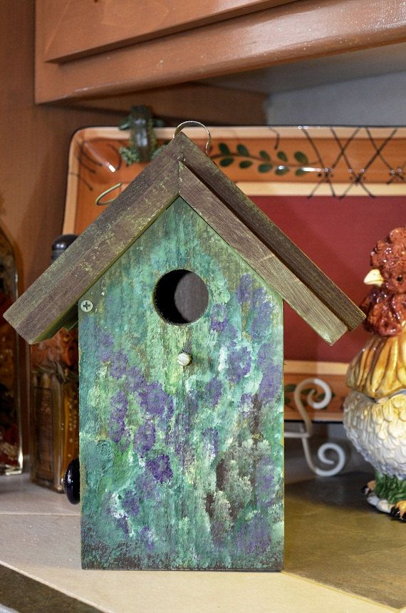 Birdhouse Hand Painted Floral Ready To Ship Hanging