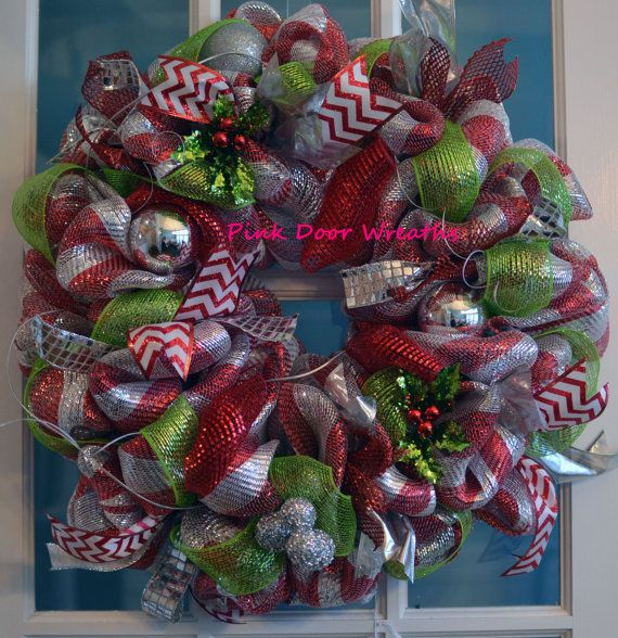Red Silver lime green CHRISTMAS Door Wreath shiny ornaments chevron