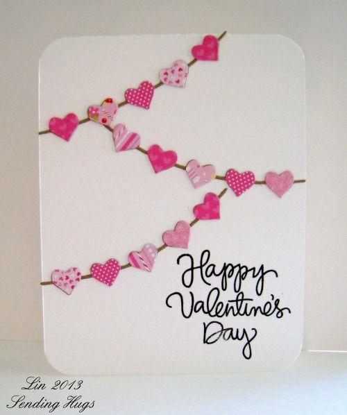 Card Making Valentine S Day Heart Banner Karte Basteln