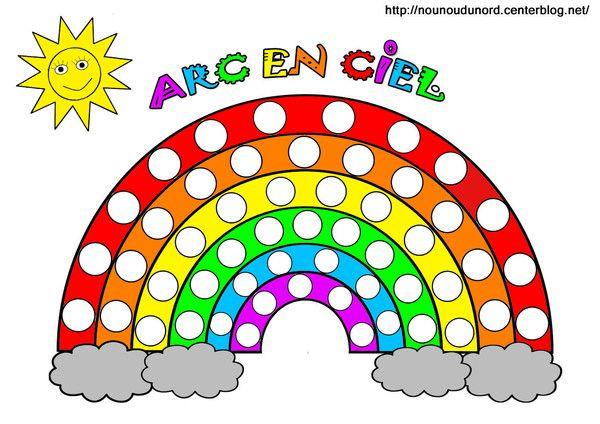 Arc en ciel à colorier, à gommettes et en couleur | Coloriage arc en ciel, Jeux de chemise à ...