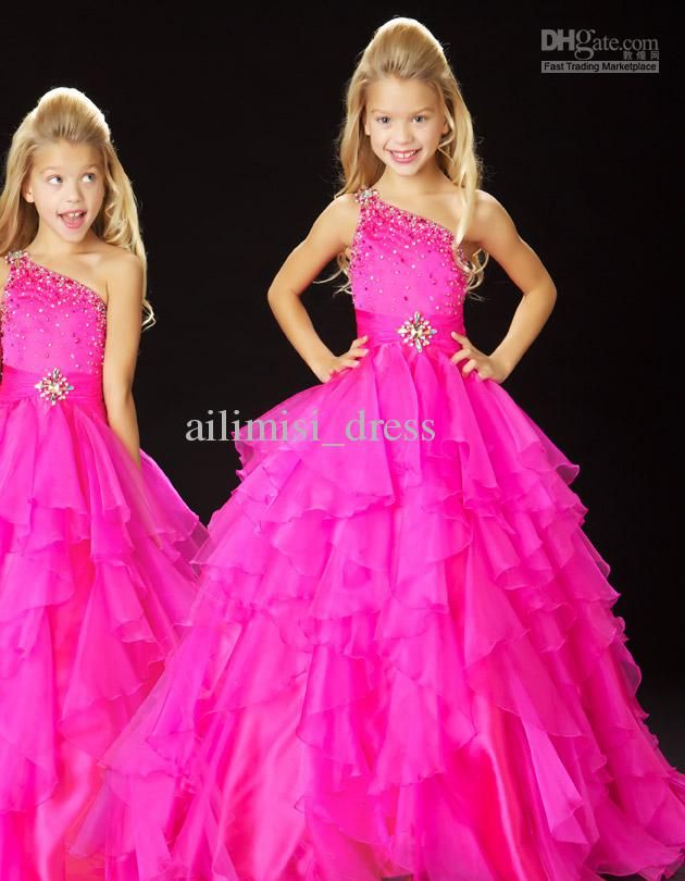 019dd971c Newest One Shoulder sequins Little Princess Ball Gown Girls Kids ...