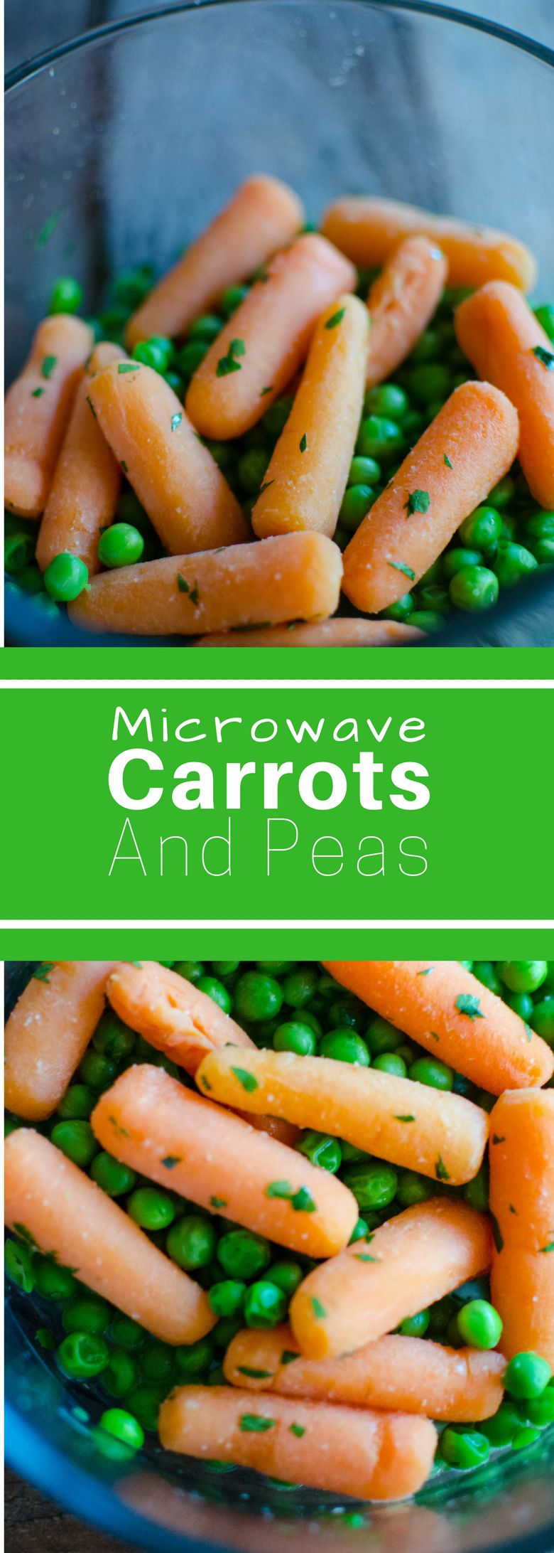 Microwave Carrots and Peas #SundaySupper. This delicious side dish is ready in 10 minutes. There's no excuse not to have a vegetable on the table with this easy recipe!