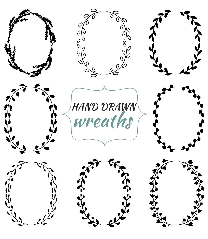 Hand Drawn Wreaths And Laurels Ink Drawn Clip Art Set 8