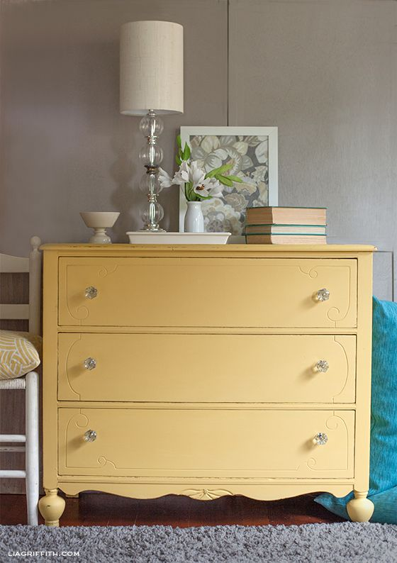 Yellow painted dressers on pinterest yellow painted - Chalk paint bedroom furniture ...