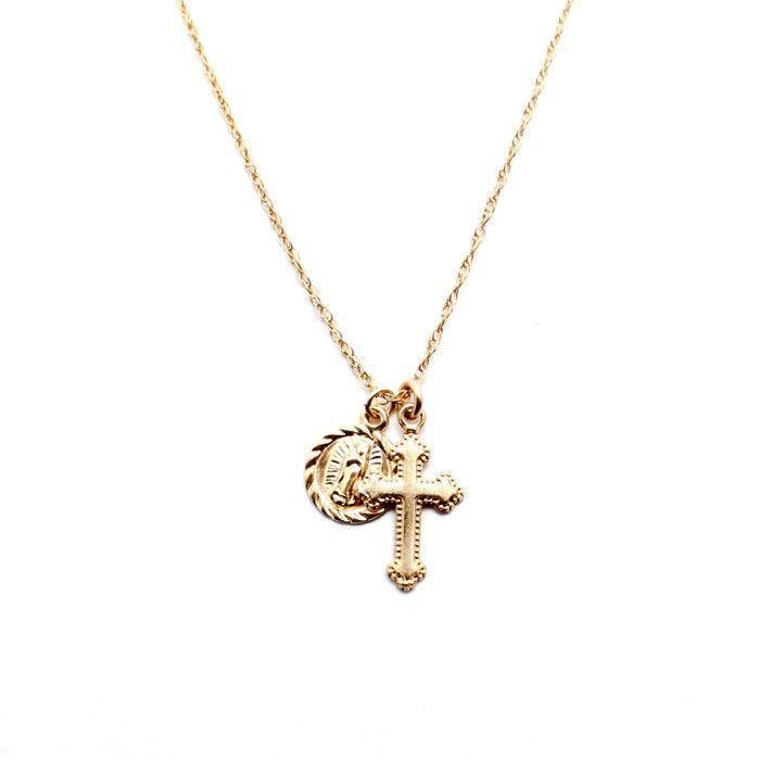 Dainty Layering Gold Necklace 14k Gold plated Cross and Madonna pendant  Dainty 16 inch Gold filled