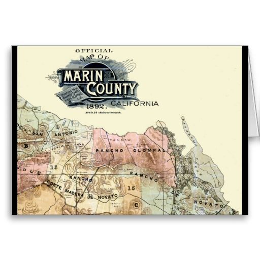 Vintage 1890 Map of Marin County Greeting Cards