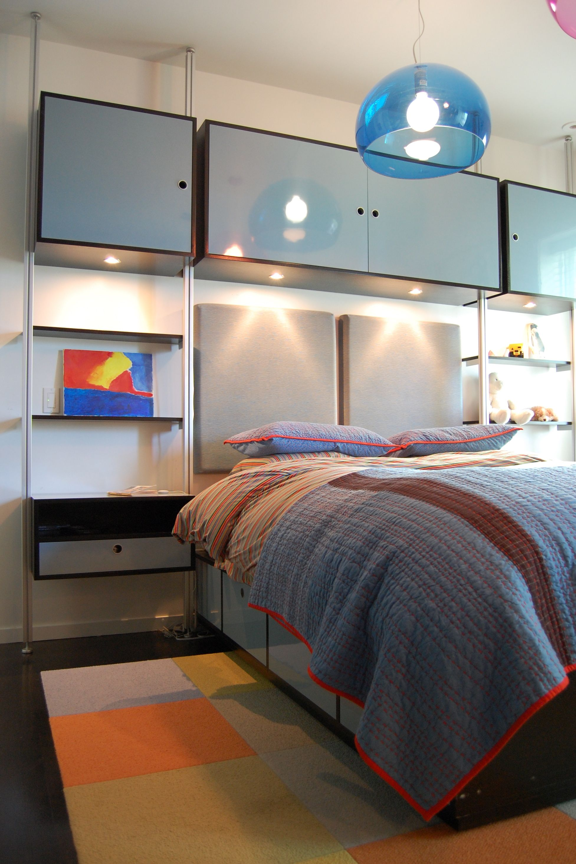Modern 12 Year Old Boys Bedroom With Blue Bed and Storage Headboard Also  Pendant Lamp - Gallery Pictures of 12 Year Old Bedroom Ideas