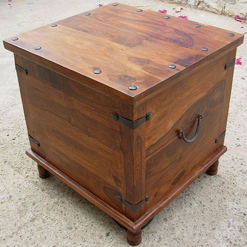 Rustic Square Storage Trunk Box Coffee Side End Table Storage