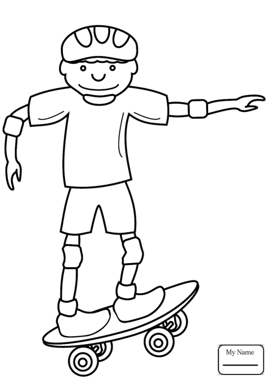 A Boy Driving Skateboard Coloring Pages Sports Coloring Pages Coloring Pages Skateboard