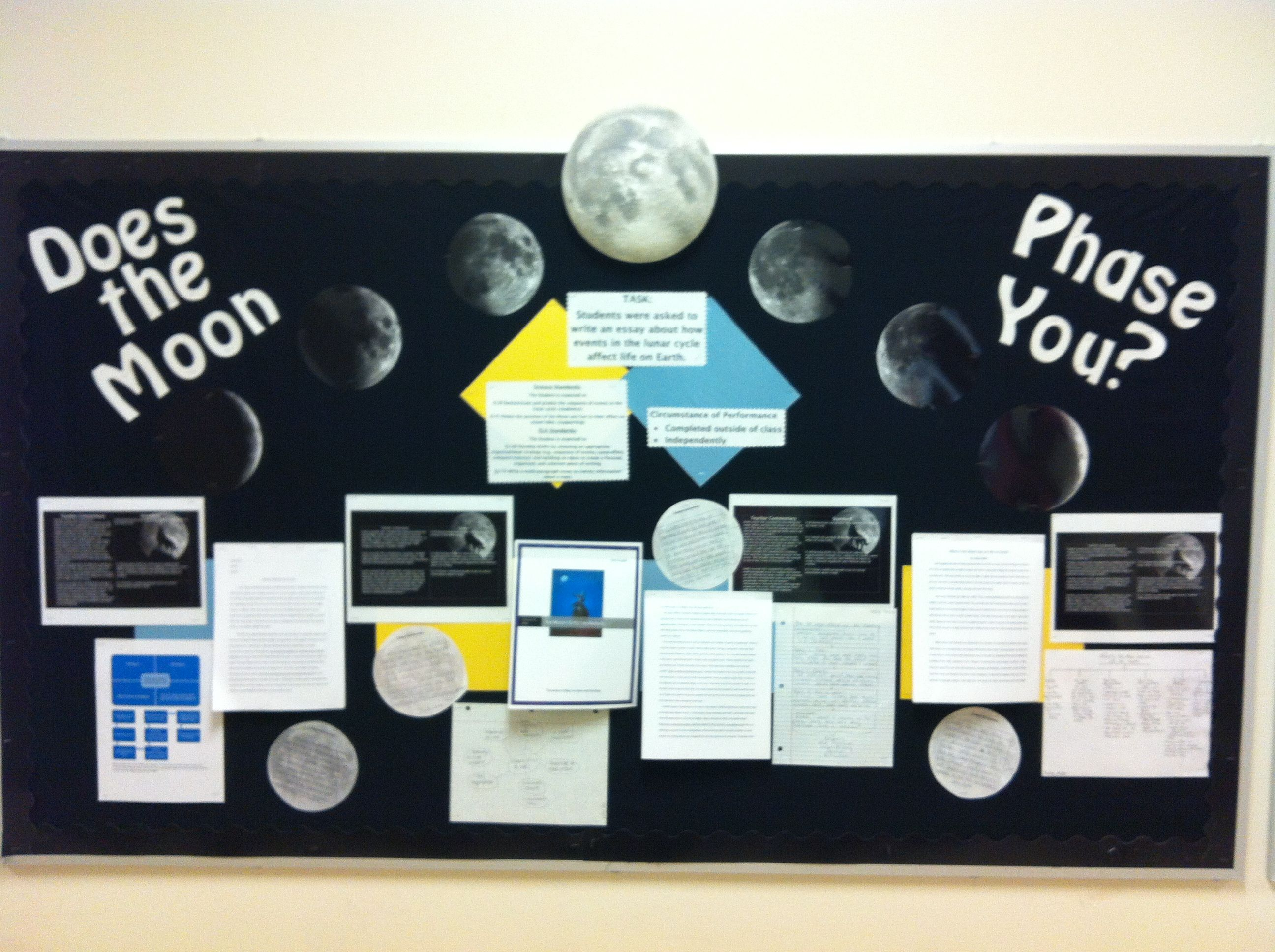 Moon Phase Standards Based Bulletin Board Students Wrote