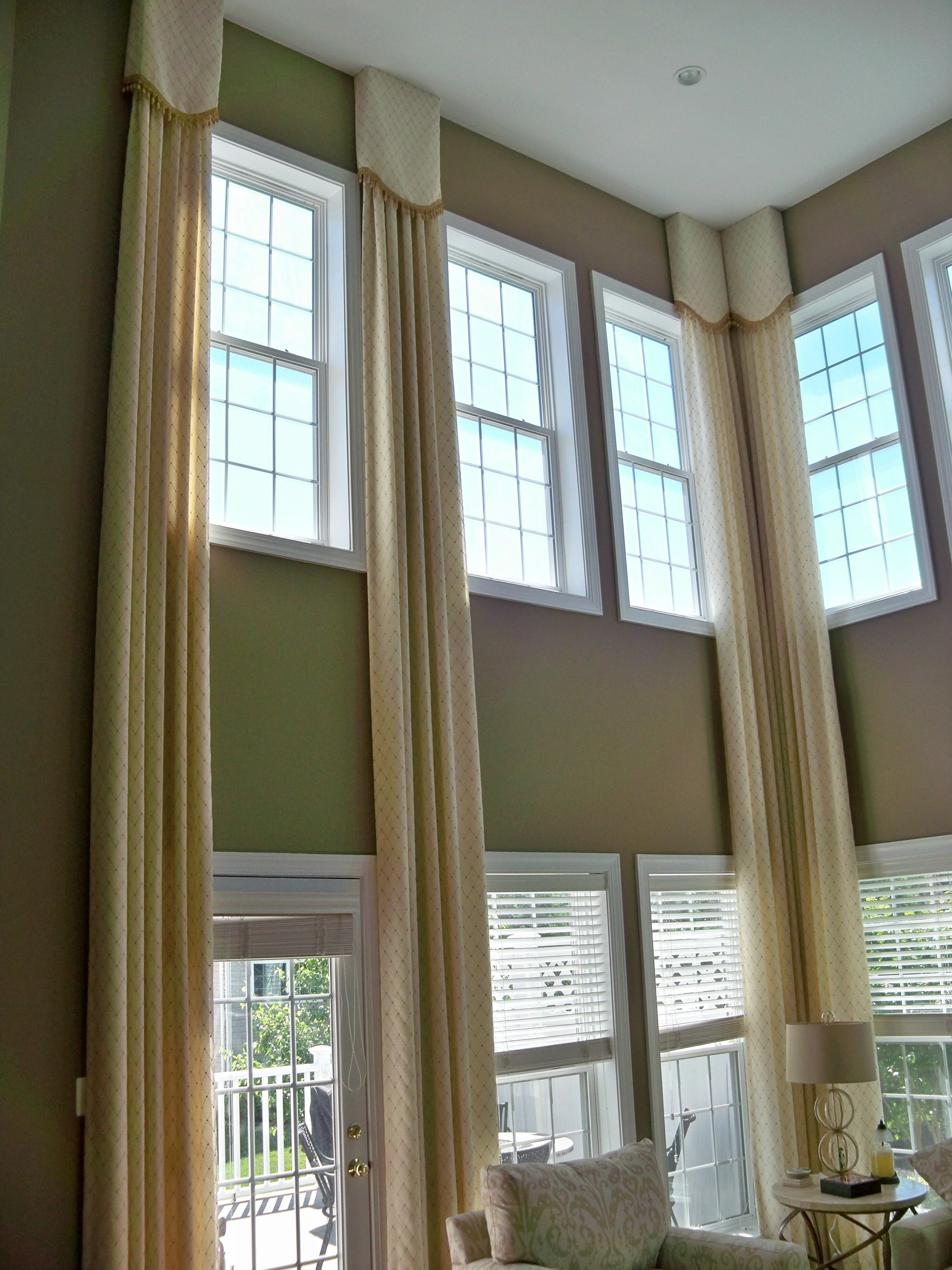 Superb Great Room Window Treatment Ideas Part - 8: Elegant Stationary Panels Custom Designed For A Great Room With Two Story  Windows Dresses The Windows