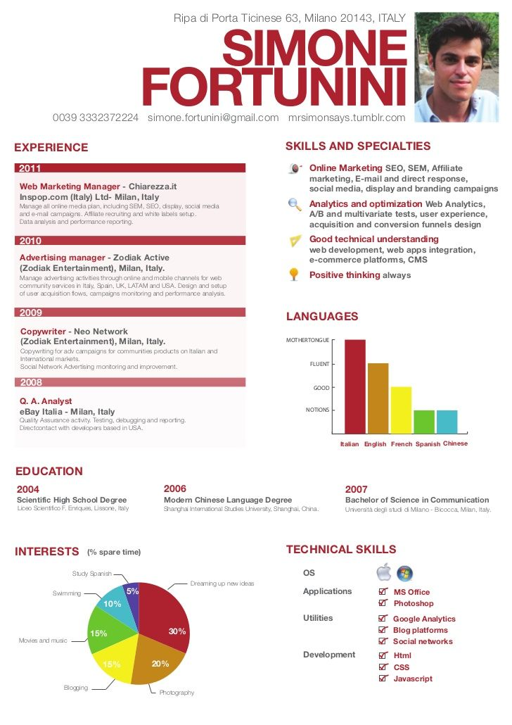 Simone Fortunini Curriculum Vitae Infographic Resume Creative Resume Visual Resume