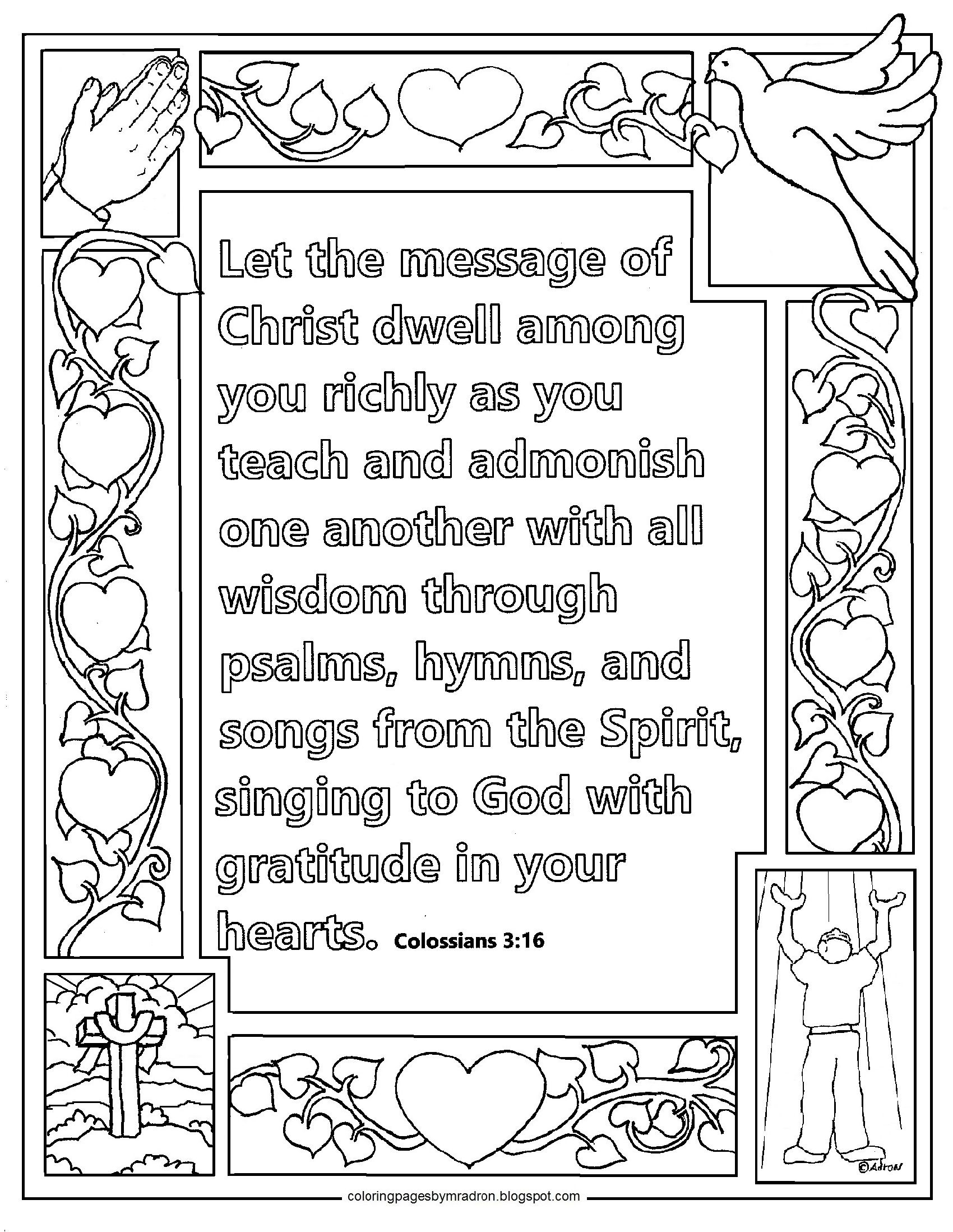 Colossians 3 16 Print And Color Page Let The Message Of
