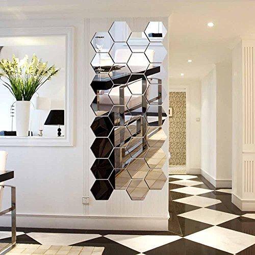 12 Stück Spiegelfliesen Selbstklebend, VIGORFUN Hexagon ...