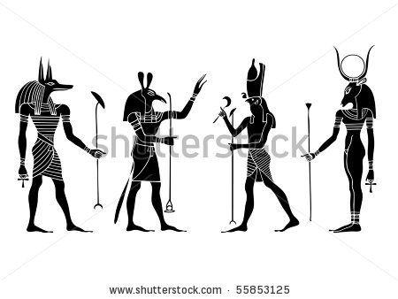 Egyptian gods and  goddess -  Anubis, Seth,Hathor, Horus by siloto, via Shutterstock