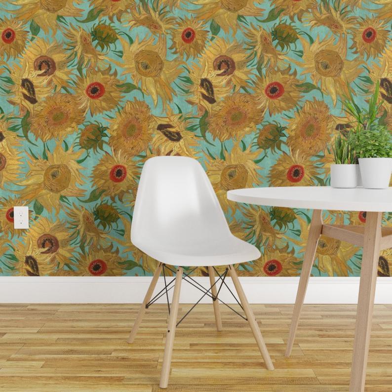 Van Gogh Sunflowers Wallpaper Aqua Yellow Removable Peel And Etsy Sunflower Wallpaper Decor Custom Kitchen Backsplash