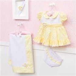Saída Maternidade Vestido Sofie Floral Amarela   Grão de Gente