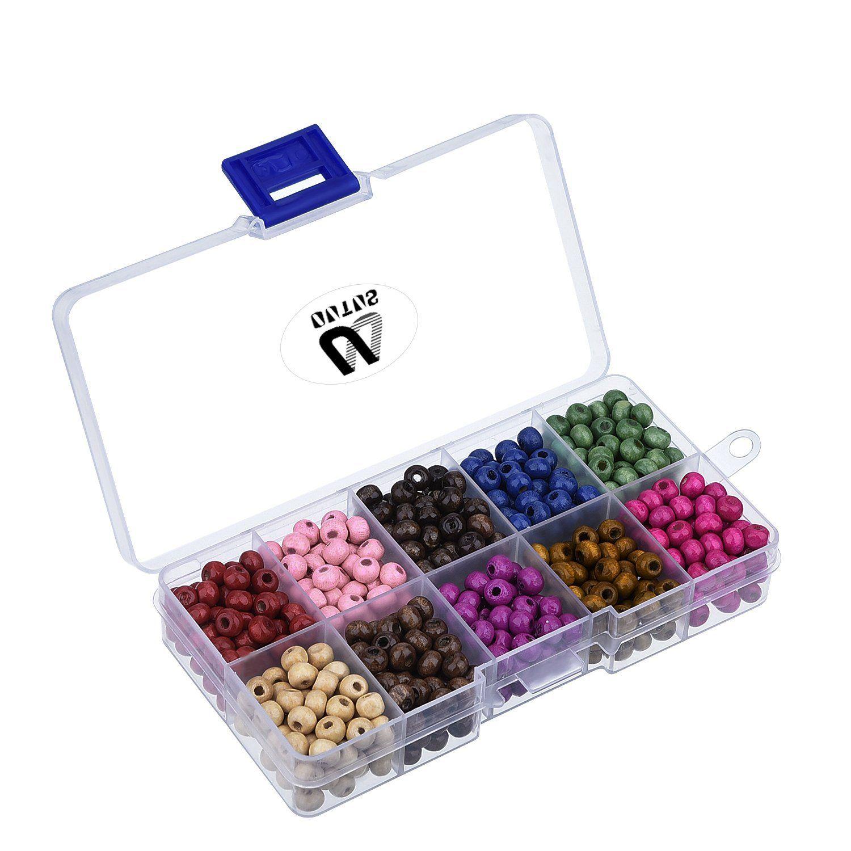 700 Piezas Cuentas Redondas de Madera con Caja para Fabricaci/ón de Joyas Colores Variados 6 mm