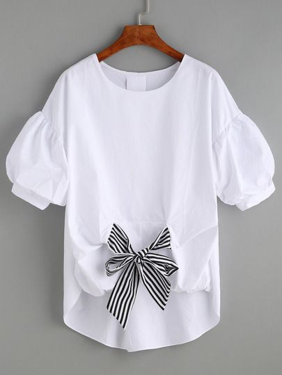 Shop White Stoper Türkçe Front Puff Sleeve Blouse online. SheIn offers White Striped Tie Front Puff Sleeve Blouse & more to fit your fashionable needs.