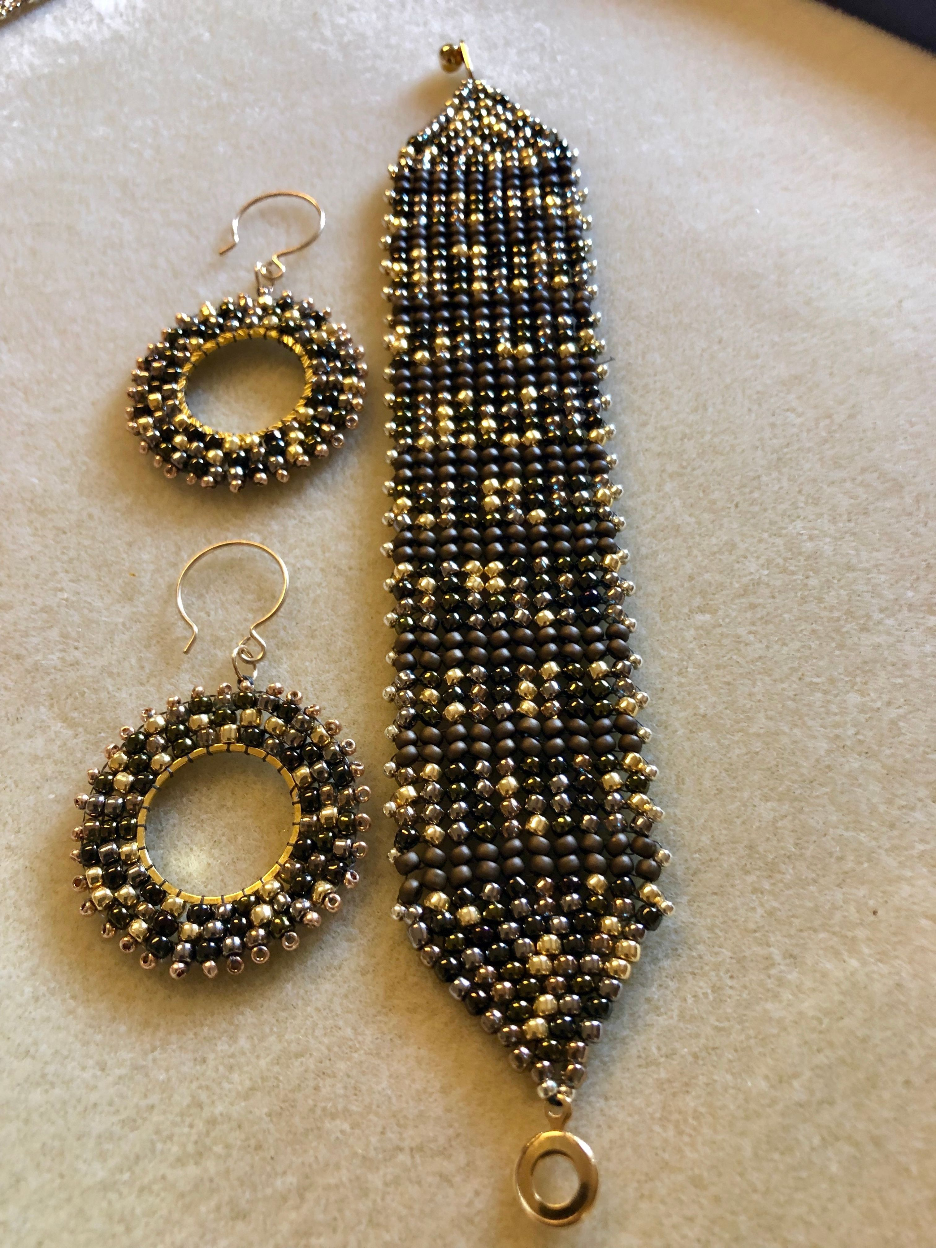 Set of earrings and necklace gold or silver Miyuki beads