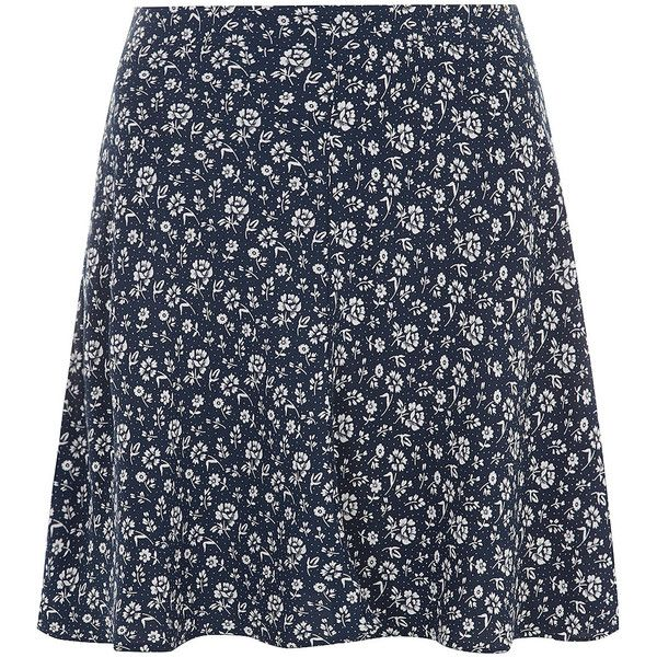 Dorothy Perkins Blue ditsy skater skirt (47 BRL) ❤ liked on Polyvore featuring skirts, bottoms, blue, skater skirt, dorothy perkins, rayon skirt, blue skater skirt and circle skirt