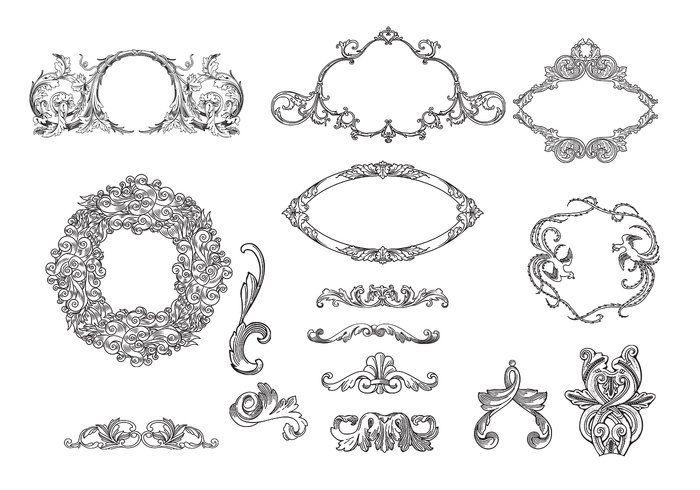 Los marcos grabados y Paquete Adornos Vector   Para diseñar ...