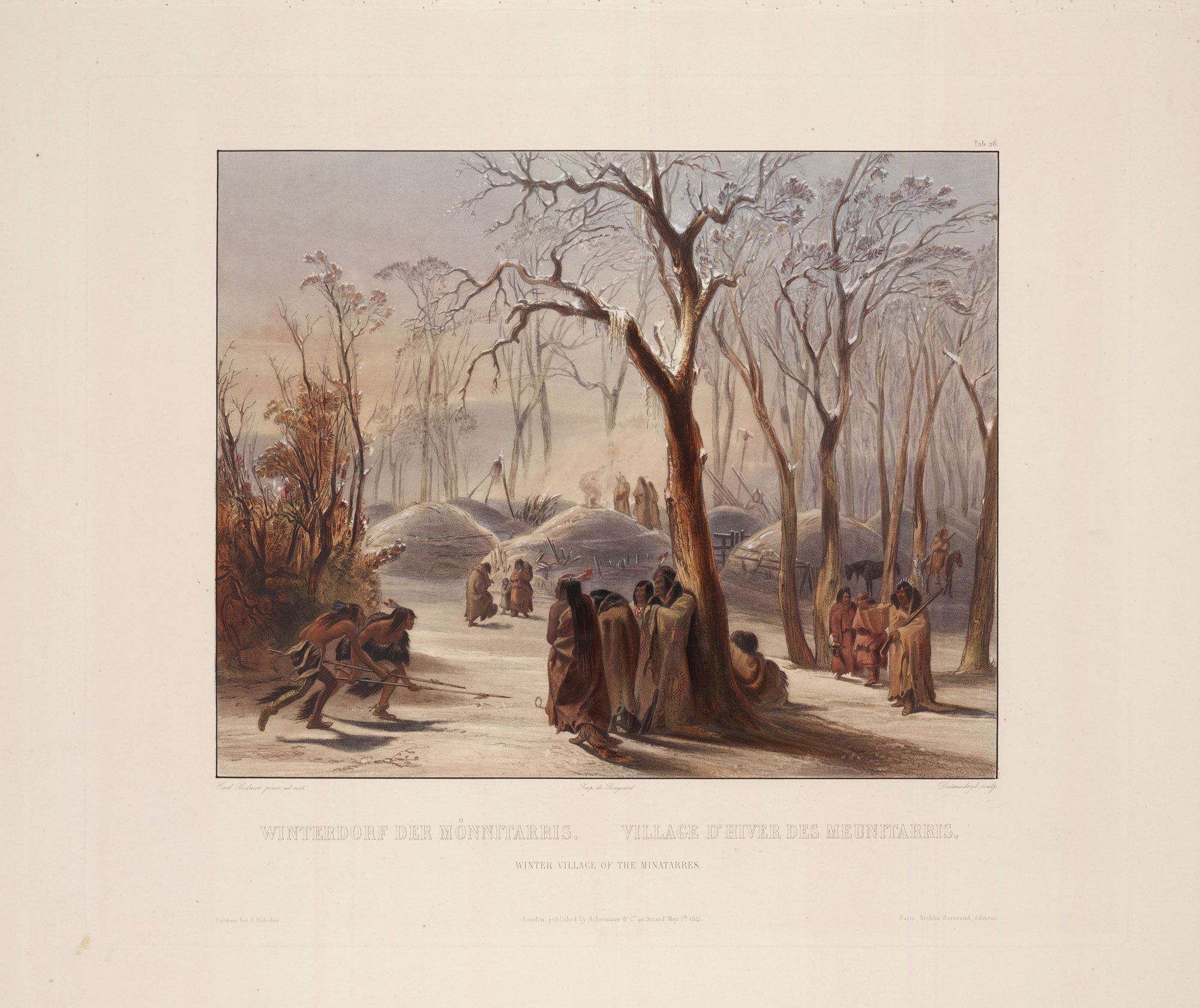 """Winter Village of the Manitaries,"" by Karl Bodmer (1841)"