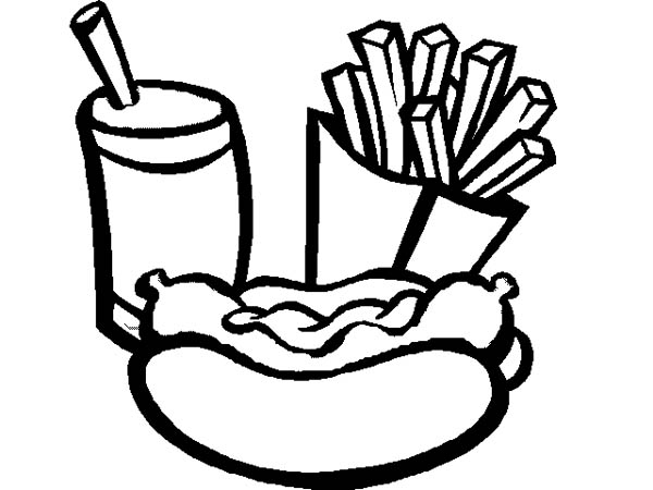 Eat Hot Dog And Fries With Soda Coloring Page Coloring Sky Dog Coloring Page Super Coloring Pages Coloring Pages Inspirational