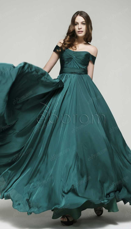 Dark green off the shoulder prom dresses | ebProm Prom Dresses ...