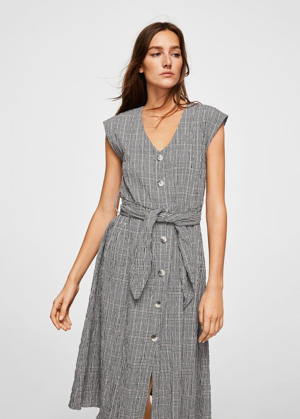 8ae7309502 Check Pattern Belt Button-Front Dress from Mango    Wardrobe Wishlist