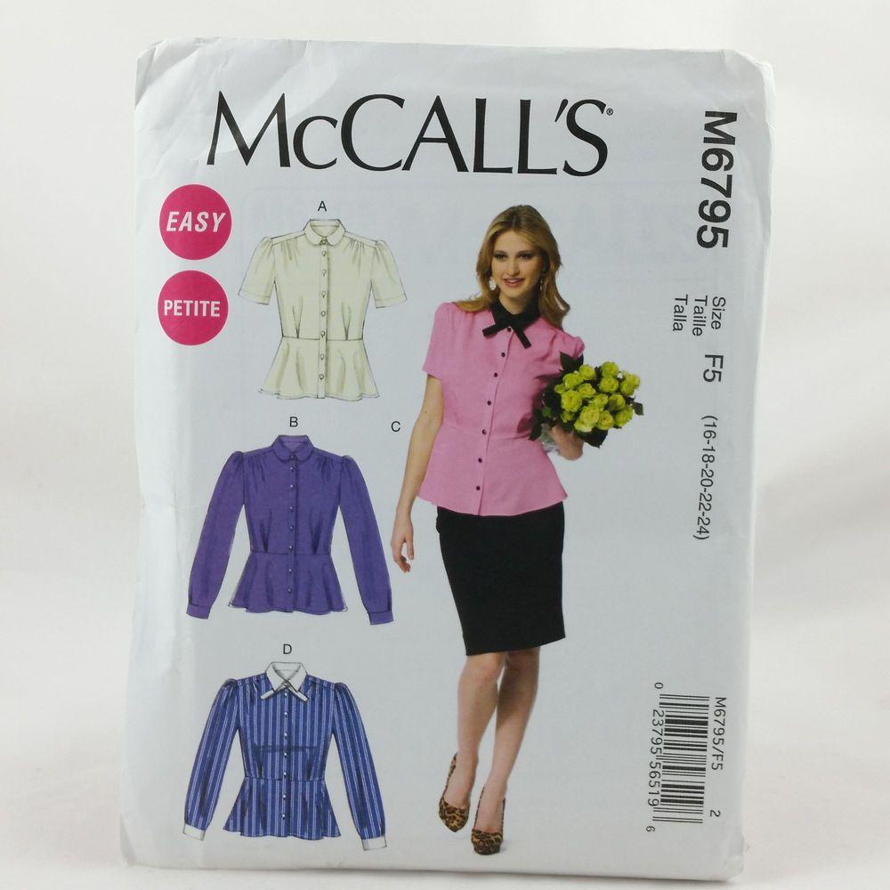 Plus Size Ladies Top Shirt Blouse Sewing Pattern Sz 16-24 UNCUT McCalls 6795…