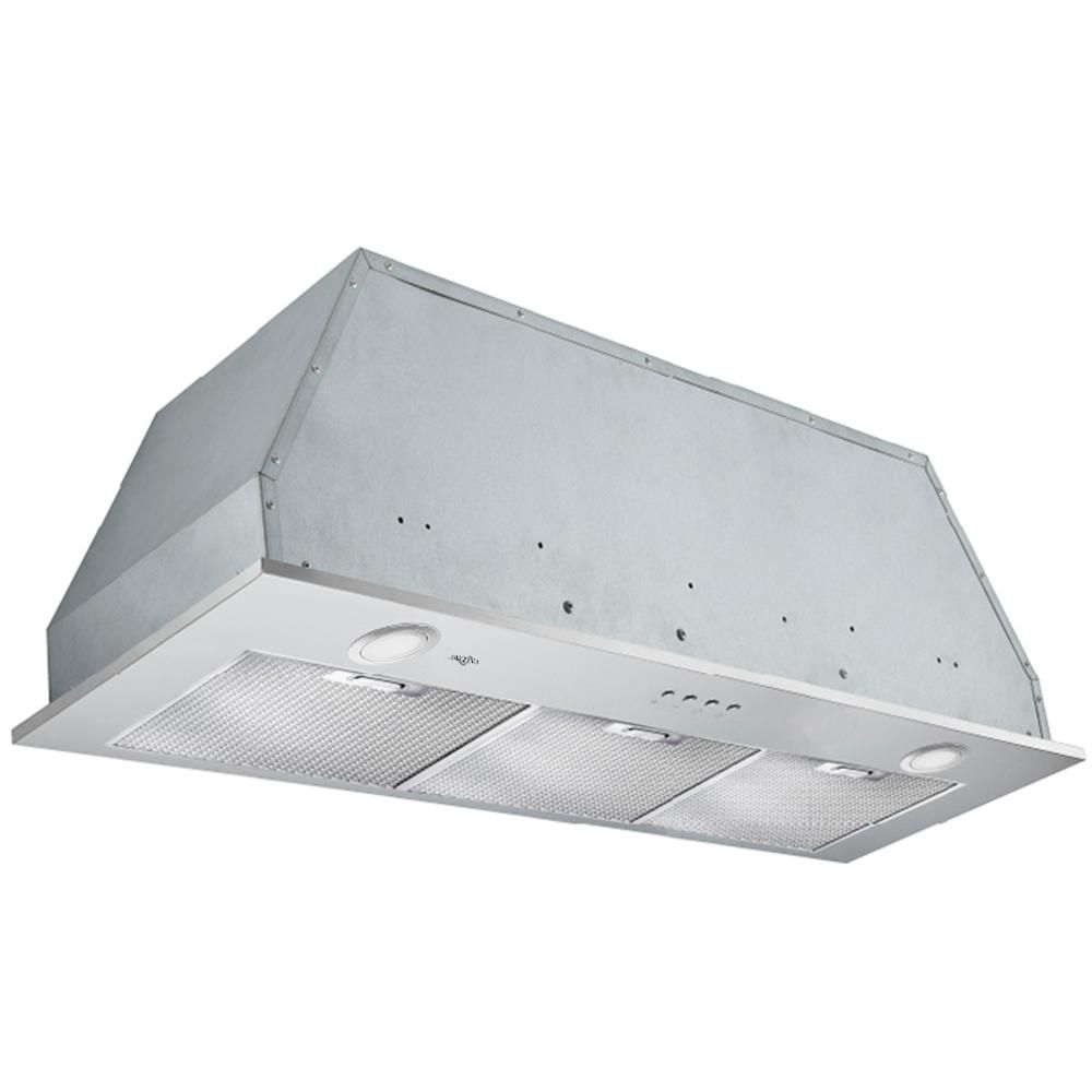 Ancona Inserta Elite 36 In Insert Range Hood With Led In Stainless Steel Silver Range Hoods Stainless Steel Panels Wall Mount Range Hood