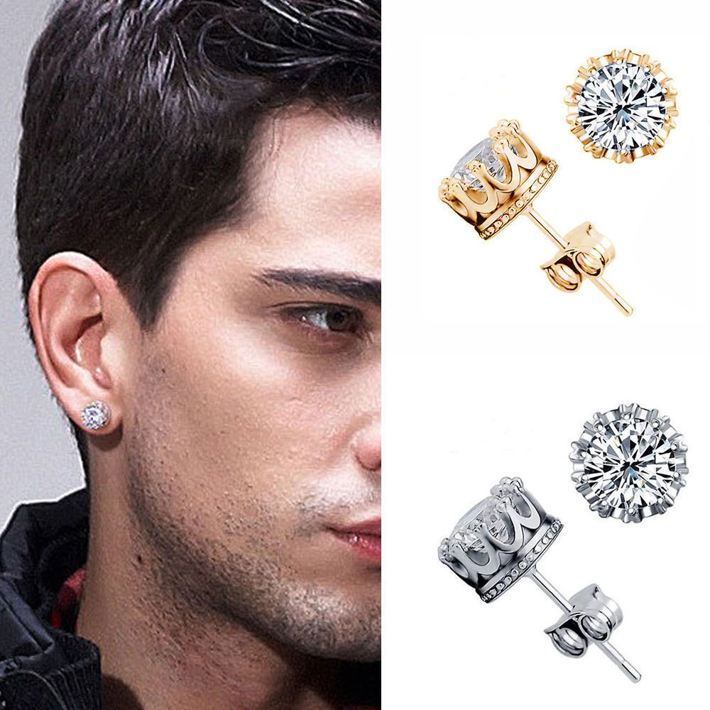 10mm Men Women Sterling Silver Post Stud Crown Cubic Zirconia Earrings Gift P8 Unbranded