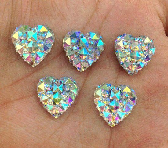 20pcs 14mm AB Round Flatback Acrylic Crystal Rhinestone Embellishments Gems