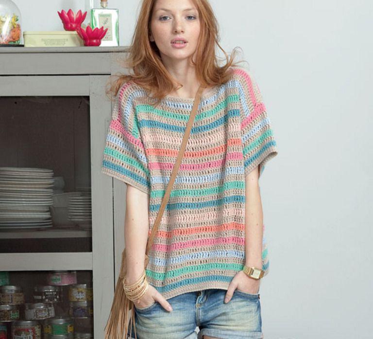 Crochet Courtes Modèles Gratuits Pull Au Femme Manches Modèle vm0PNyO8nw