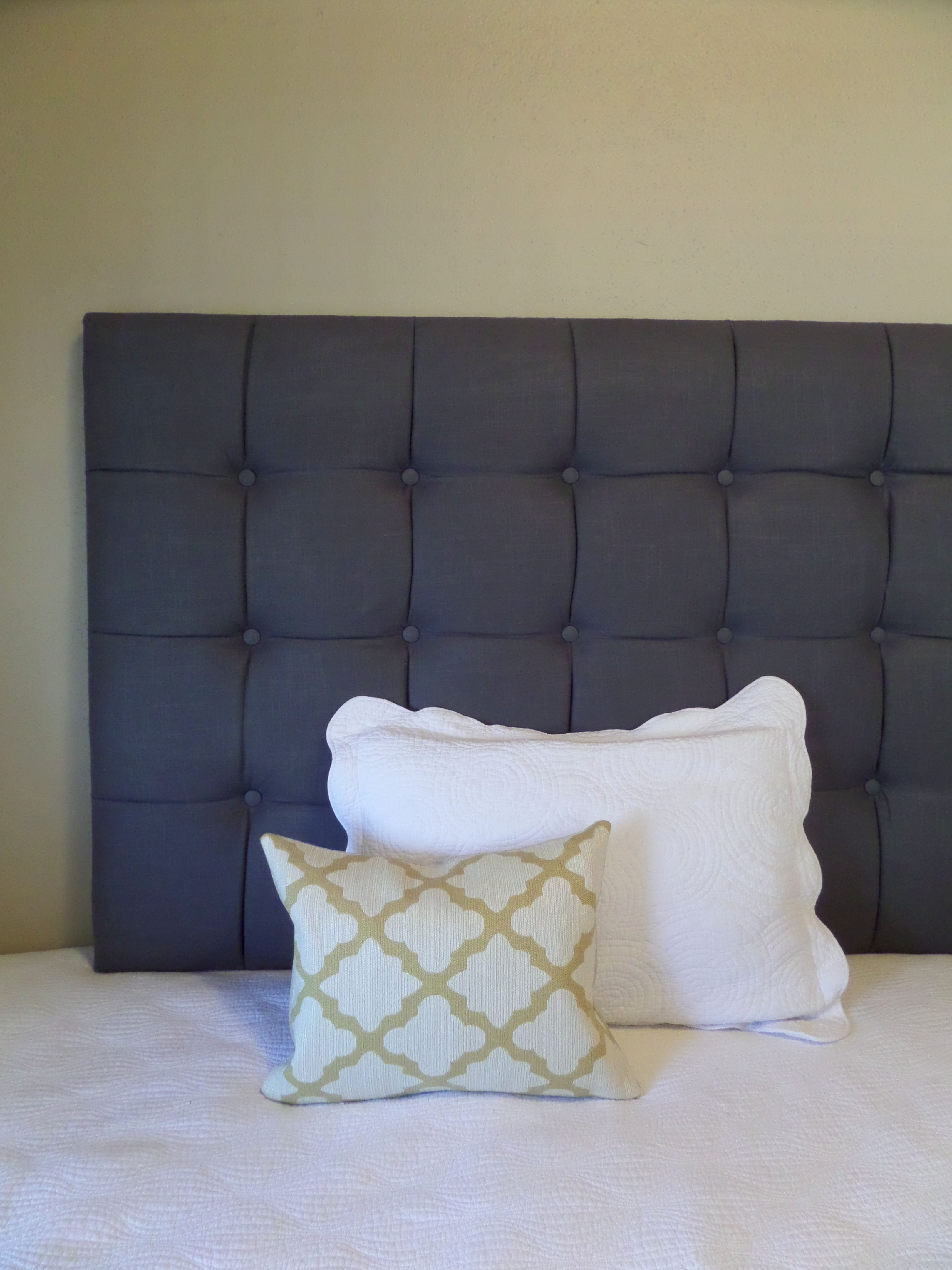 Extra tall king size tufted upholstered headboard charcoal gray