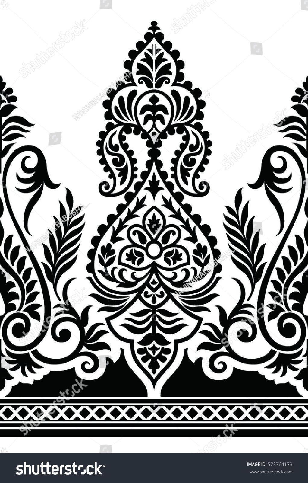 Traditional Black And White Indian Motif Saree Painting Designs