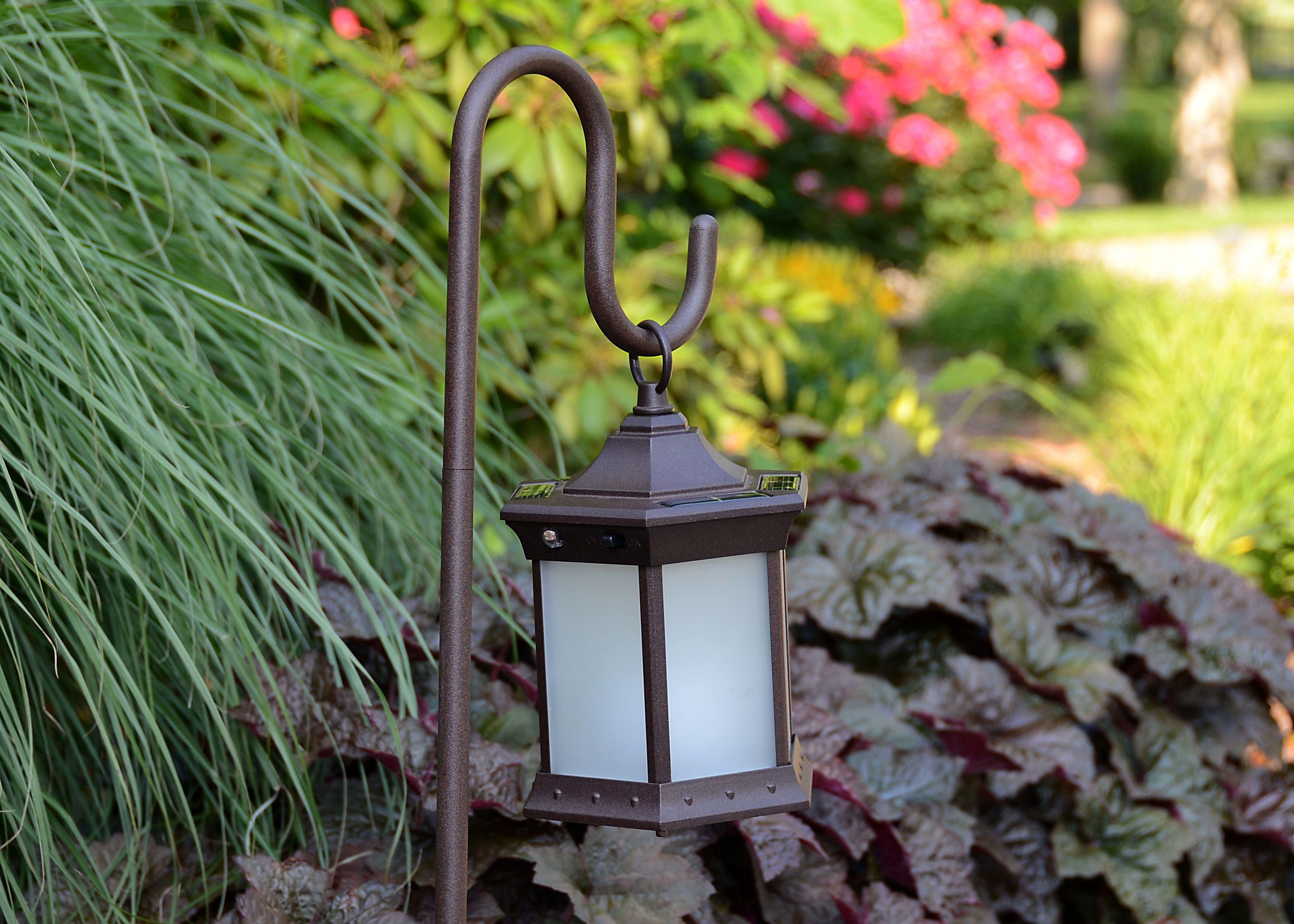 Solar Lantern Frosted Glass Shepherd's Hook