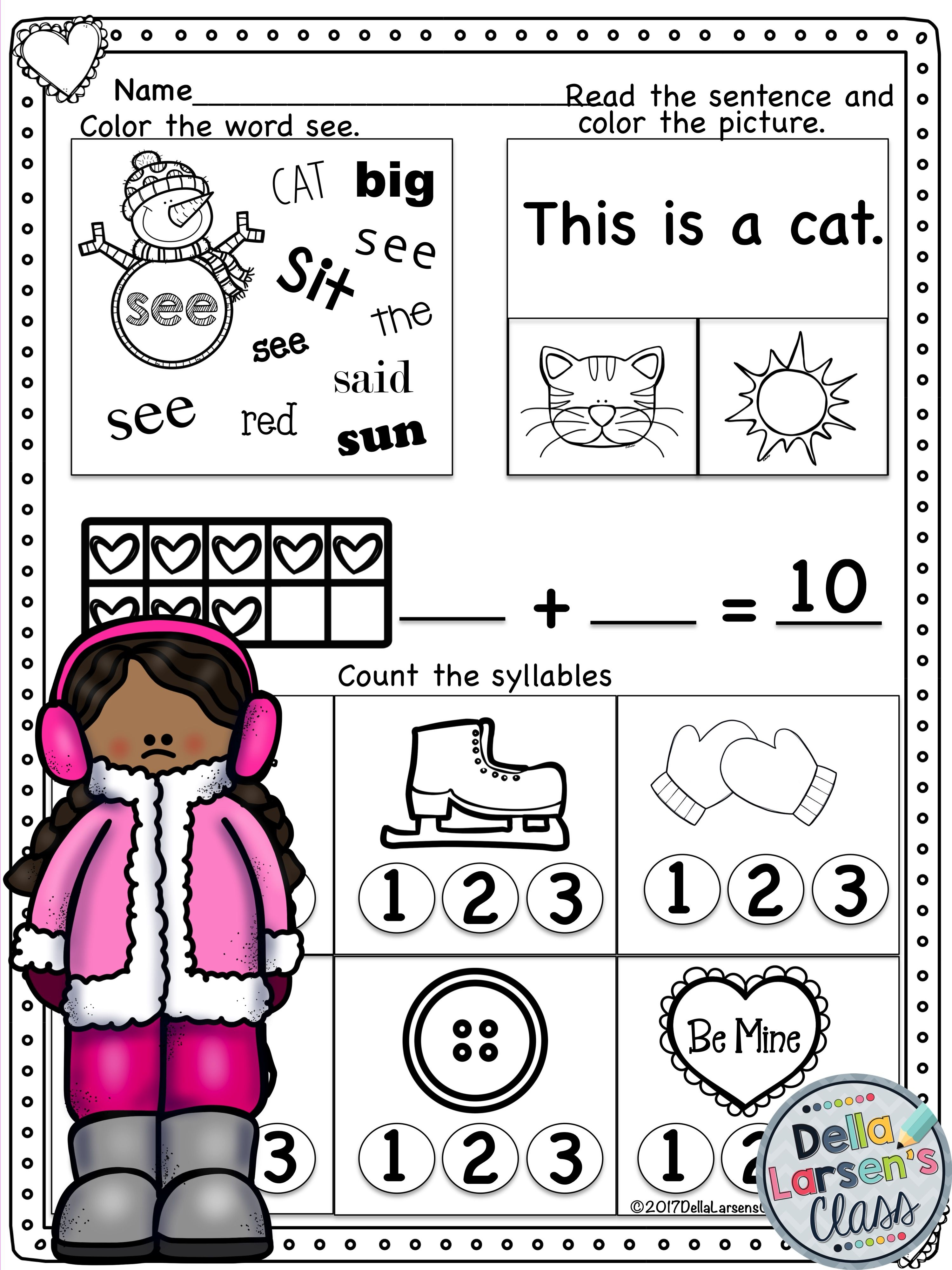 Need Some No Prep Worksheets For February Valentine S Day Or Winter This Resource Includes 23 No Prep Printabl February Math Literacy Worksheets Kindergarten [ 3998 x 2998 Pixel ]