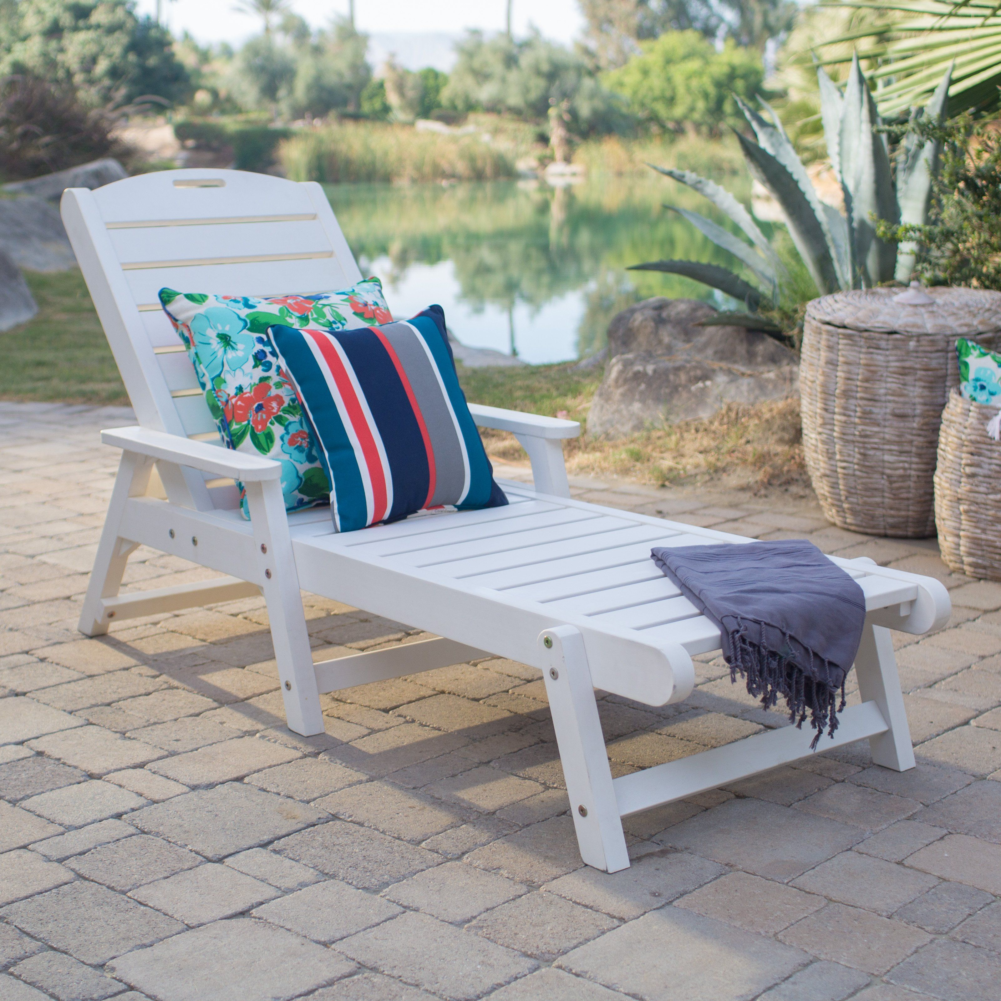 Resin Patio Lounge Chairs Clam Shell Chair Outdoor Belham Living Seacrest Cottage All Weather Chaise White From Hayneedle Com