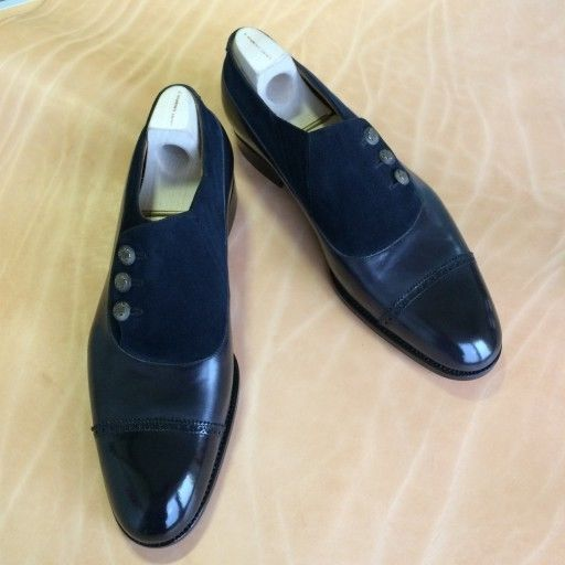 Men Black And Blue Formal Shoes Handmade Men Two Tone Formal Button Shoes
