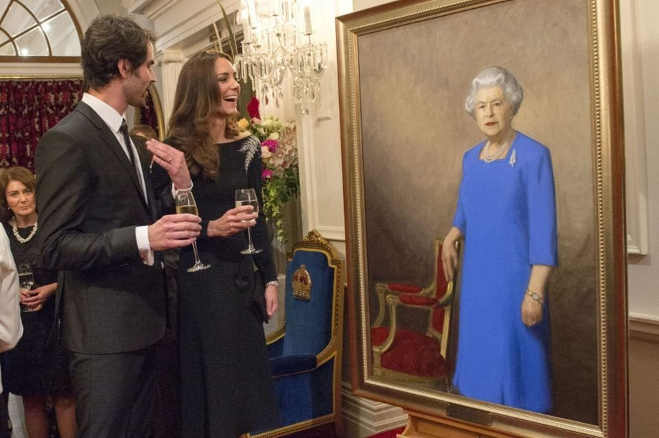 The royal couple was on hand to unveil a portrait of Queen Elizabeth II by local artist Nick Cuthell. 6/26/2014