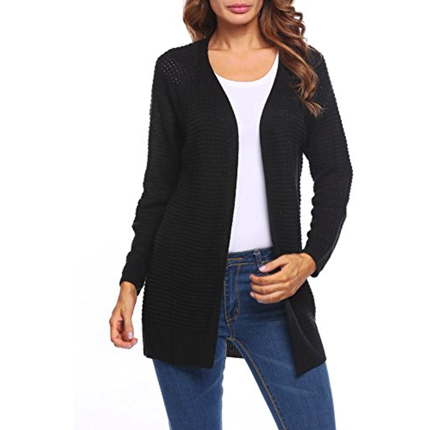 Women's Casual Long Sleeve Open Front Solid Drape Knitted Cardigan ...