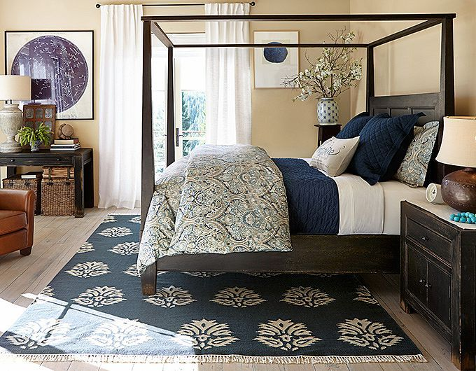 Potterybarn love the light taupe white and indigo colour combo should work well with our Master bedroom with espresso furniture