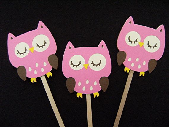 Pink Owl Celebration Toppers  Cupcake Toppers  by wittypaper, $5.00
