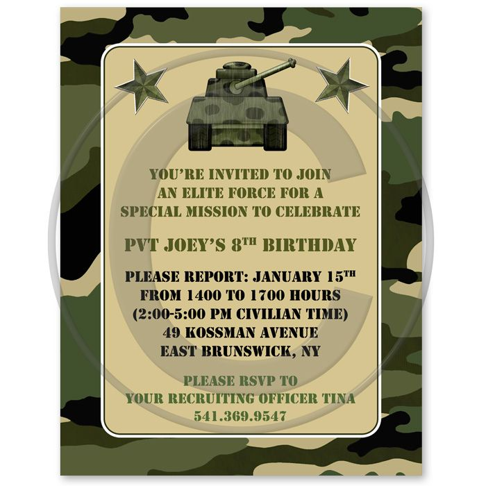 army birthday invitations | Camouflage Military Army Birthday Party ...