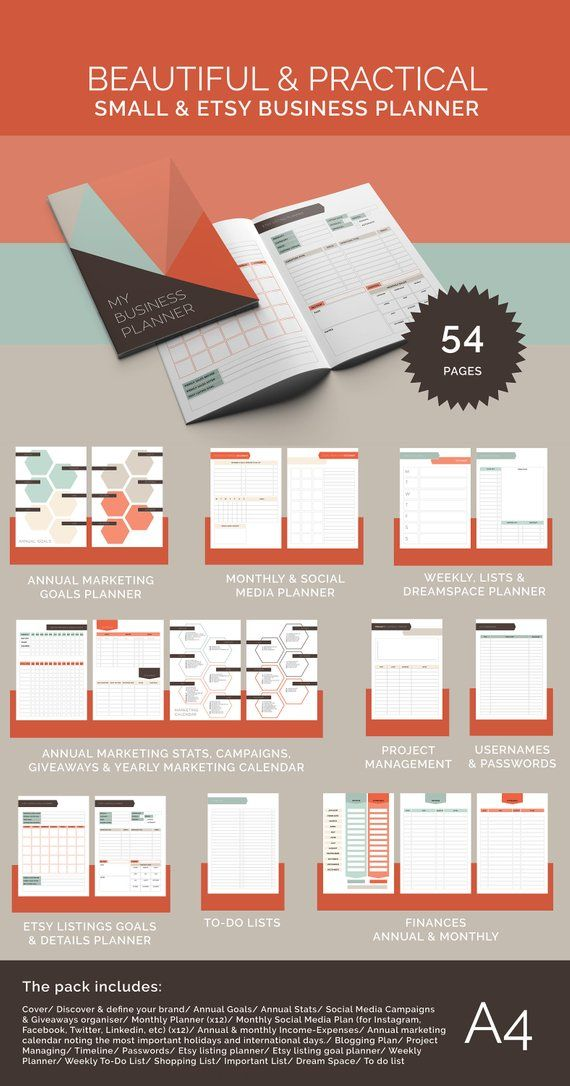 Business planner PRINTABLE - Small Business - Etsy Shop Owner (easy