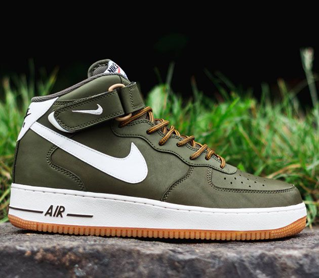 Nike Air Force 1 Mid - Medium Olive - Sail - Light Brown - SneakerNews.com  | Nike air force, Light browns and Air force
